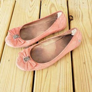 UGG Rohen Swarovski Bow Genuine Leather Flat